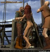 Bondage art. Redhead slim slave humiliated by two bald guys!