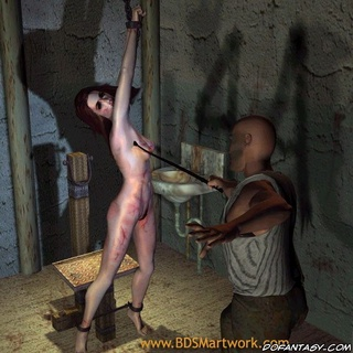 Slave comics. Slim save girl chained and gets her tits whipped!