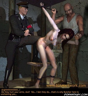 Bdsm art toons. Brunette slave girl tortured in front of Gestapo officer!