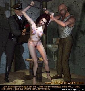 Bdsm art toons. Brunette slave girl tortured in front of Gestapo officer!