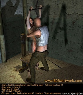 Bondage toons. Chained brunette slave fucked by her bald master!