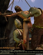 Slave girl comics. Ork fucks elf pussy while her ass getting impaled!