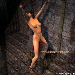Slave art. Chained girl humiliated by two cruel men!