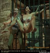 Bondage toons. Girl tied to the door ang gets her pussy touched!