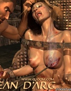 Submission art. Blonde girl tied to the chair and gets hot iron on her