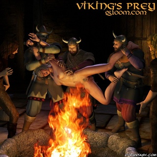 Adult bondage comics. Vikings torture their victim over the fire!