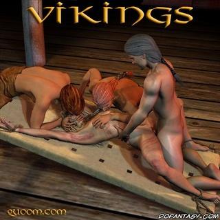 Torture drawings. Vikings enjoy their new slave!
