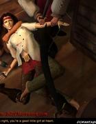 Sado cartoons. Pirate gonna break slave's neck!