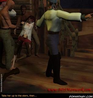 Bondage cartoons. Pirates brought their victim up to the deck!