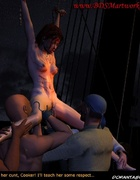 Bondage art. Pirates checking if their slave girls is virgin!