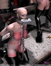 Fetish cartoons. Chained bald slave girl asked to clean dirty floor!