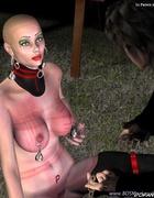 Bondage toons. Bald slave girl obeys to her master!