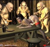 Slave art. Gnomes fucked Snow White doggy style in turn !