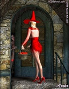 Fetish cartoons. Witch in sexy red dress tries to poion Snow White!