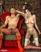 Slave cartoons. Snow White's step mother tortured by Snow White and her