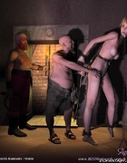 Submission comics. Blonde slave is hanged in the storing well!