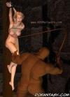 Bondage toons. White slave girl gets her bobs spanked by black guy!