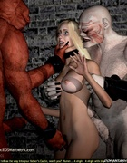 Bondage toons. Blonde slave girl became troll's sex toy!