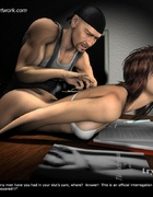 Fetish cartoons. He laid his slave on the table and take off all her clothes!