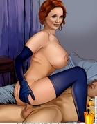Redhead toon bimbo Christina Hendricks is a real hard dick lover. Tags: