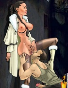 Sexy cartoon chick Lara Croft gets her tight holes plugged with real dicks