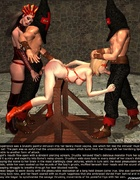 Bdsm comics. Blindfolded blonde slave is fucked by two masked guys!