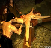 Sex slave comics. Sexy redhead tied slave gets fucked by her muscular