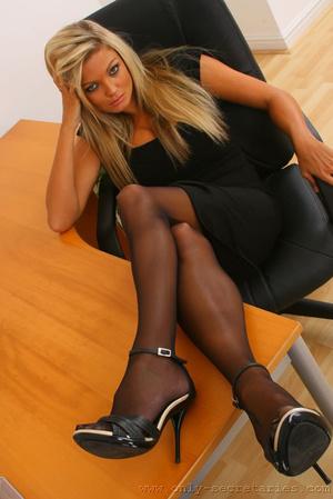 Busty blonde secretary loves wearing sto - XXX Dessert - Picture 2