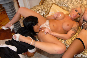 Lesbian party with gorgeous shaved pussi - Picture 7
