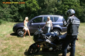 Hot biker shows his dick to a bunch of y - XXX Dessert - Picture 1