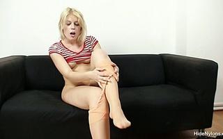 horny blonde bimbo slowly