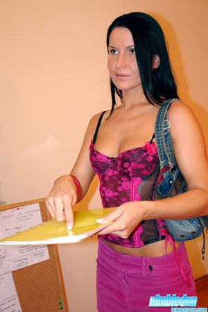 Dark haired babe in black stockings gets - XXX Dessert - Picture 3