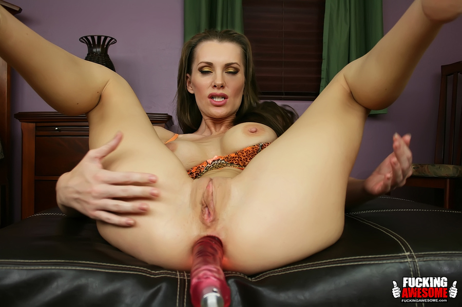 Shaved pussy and busty brunette spread her  - XXX Dessert - Picture 13