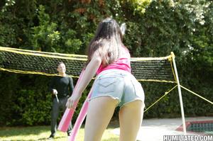 Beautiful brunette teen in tiny shorts g - XXX Dessert - Picture 1