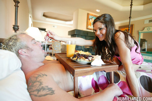 Tape and rope bondaged brunette teen in  - XXX Dessert - Picture 1
