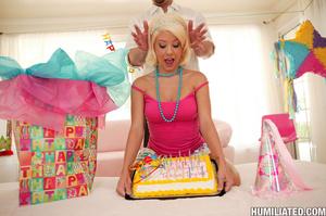 Tits tortured blonde bimbo gets her shav - XXX Dessert - Picture 1
