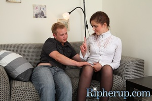 Horny dude rips up hot teen's pantyhose  - XXX Dessert - Picture 1