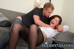 Horny dude rips up hot teen's pantyhose  - XXX Dessert - Picture 2