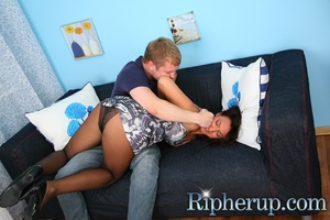 Hot brunette gets her clothes torn abnd  - XXX Dessert - Picture 4