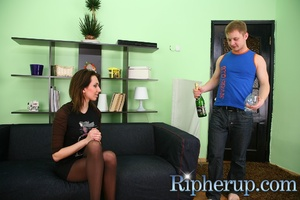 Guy and a girl drink wine when suddenly  - XXX Dessert - Picture 2