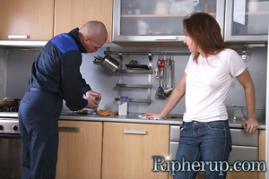 Plumber rips up clothes on hot girl and  - XXX Dessert - Picture 1