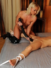 After being propelled by enormous dildo, her - Unique Bondage - Pic 12