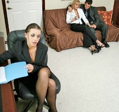 Horny secretary. Busty office chicks Penny Flame and Eve Lawrence gets