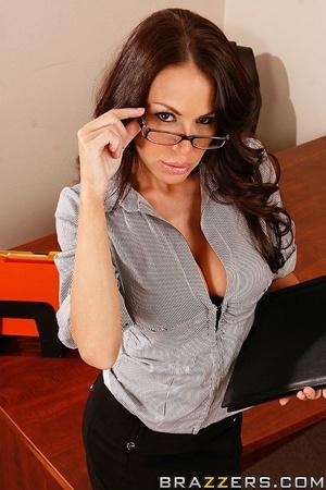 Sex at office. Busty worker gets nerd to - XXX Dessert - Picture 1