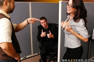 Sex at office. Busty worker gets nerd to - XXX Dessert - Picture 5