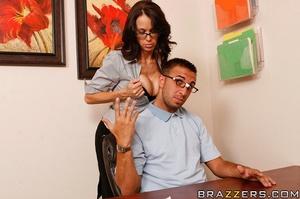 Sex at office. Busty worker gets nerd to - XXX Dessert - Picture 7
