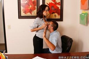 Sex at office. Busty worker gets nerd to - XXX Dessert - Picture 8