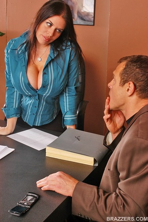 Office girls. Humongous boobed Daphne Ro - XXX Dessert - Picture 1