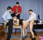 Sexy secretary. Three office guys working in a new secretary babe orally.