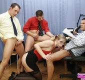 Blow job. Training the new blonde secretary her cum catching skills.